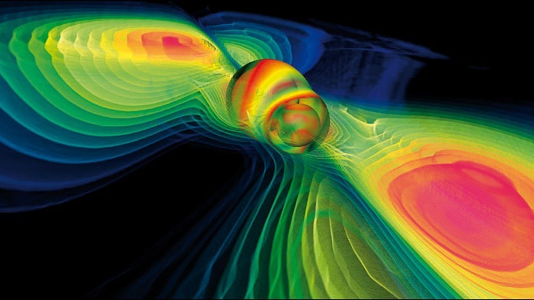 Representación gráfica de las ondas gravitacionales generadas por la colisión de dos objetos compactos