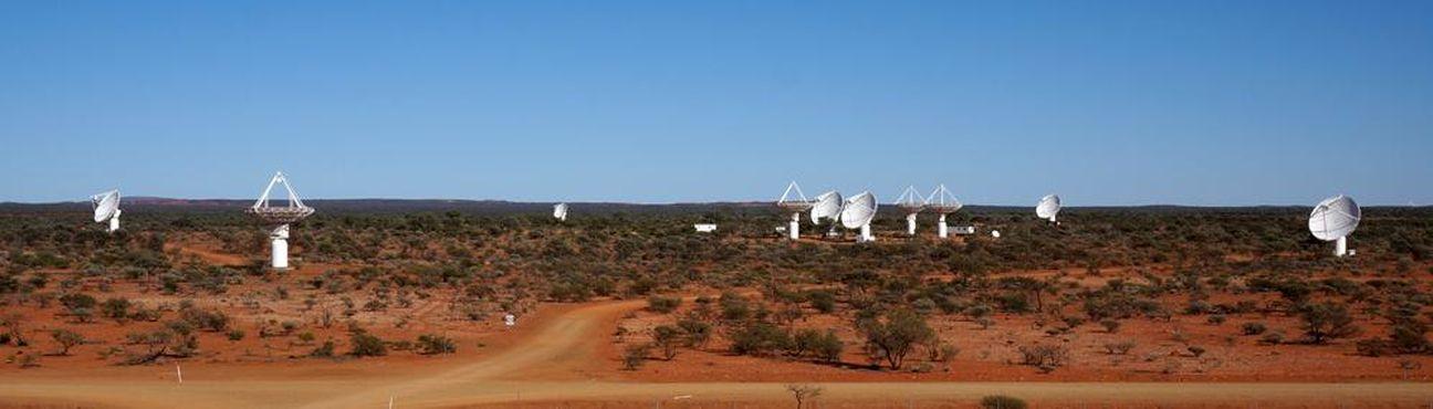 Antenas del arreglo BETA siguiendo una fuente (el resto, apuntando al cenit). Crédito: CSIRO (http://www.atnf.csiro.au/).